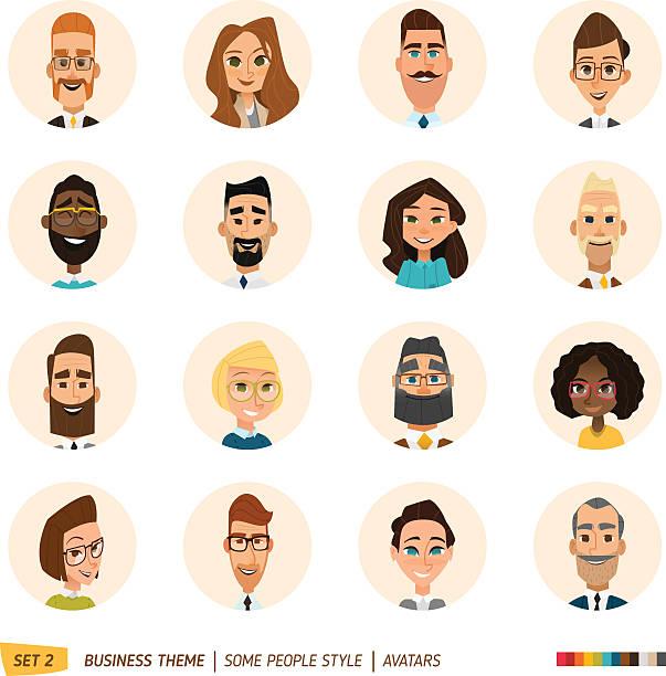 Business avatars set vector art illustration