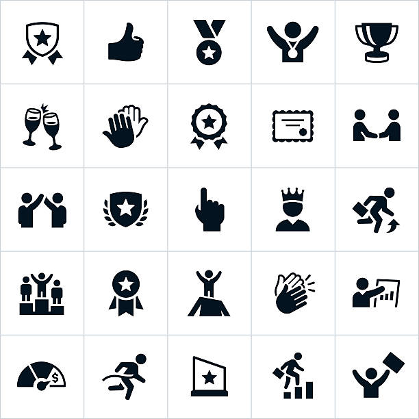 Business Award and Recognition Icons Recognition icons related to business. The icons include trophies, awards, achievements, recognition, winning and being on top of the business world. incentive stock illustrations