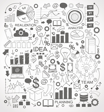 Business background with doodles icons