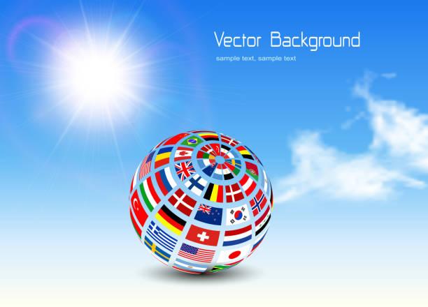 stockillustraties, clipart, cartoons en iconen met zakelijke achtergrond met globe - nationale vlag