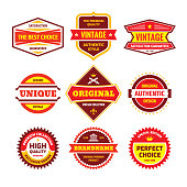 Business badge vector set in retro design style. Abstract emblem. Premium quality. Satisfaction guaranteed. Original, authentic, vintage, unique, exclusive design labels.