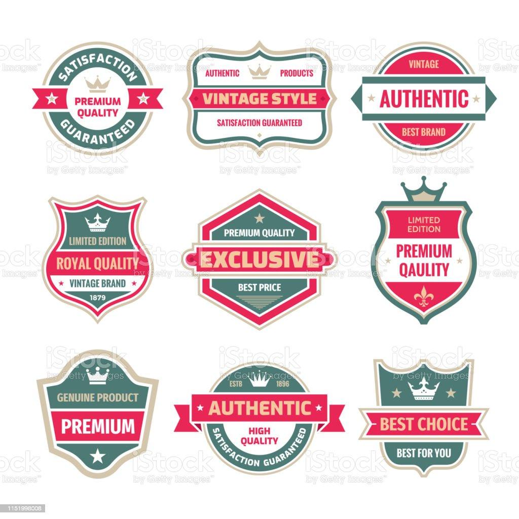 Les Badges Daffaires Vecteur Ensemble Dans Le Style De