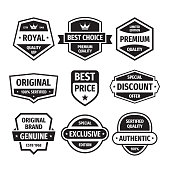 Business badges vector set in retro design style. Abstract emblem. Premium quality. Genuine authentic product. Best seller. Special offer. Discount. Exclusive. Black & white colors.