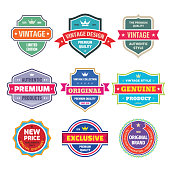 Business badges vector set in retro vintage design style. Abstract emblem. Premium quality. Satisfaction guaranteed. Original brand. Exclusive genuine product. Concept labels.