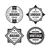 Business badges vector set in retro vintage design style. Abstract labels. Premium quality. Unique limited edition. Original brand. Vintage design. Concept labels in black & white colors.