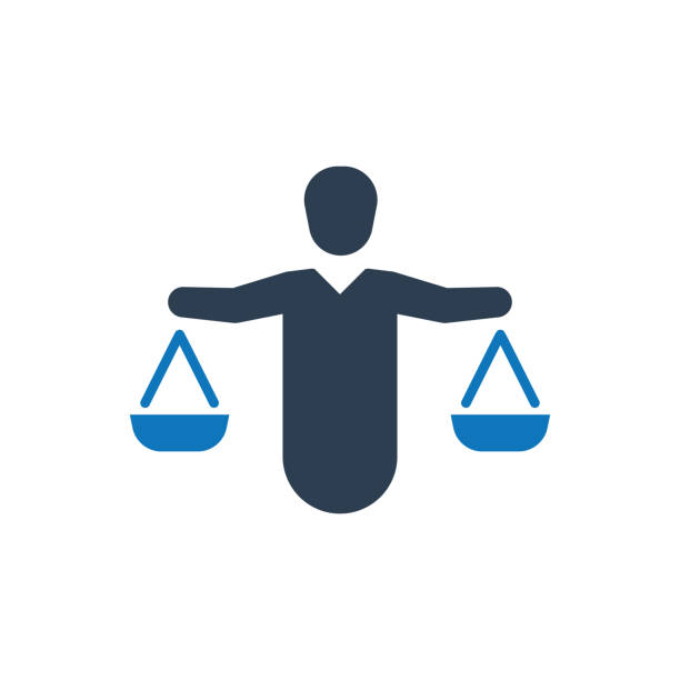 ilustrações, clipart, desenhos animados e ícones de ícone de equilíbrio do negócio - assistente jurídico