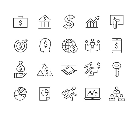 Business Banking and Finance Icons - Classic Line Series