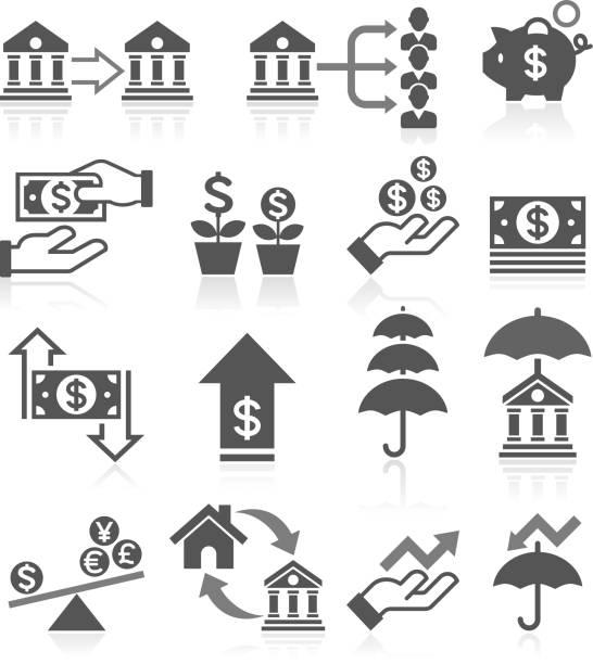 ilustraciones, imágenes clip art, dibujos animados e iconos de stock de conjunto de iconos de concepto de banca. - infografías de precios