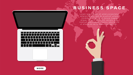 Business banner, background. Human hand with gesture on a red background with a map. Business space. Vector illustration.