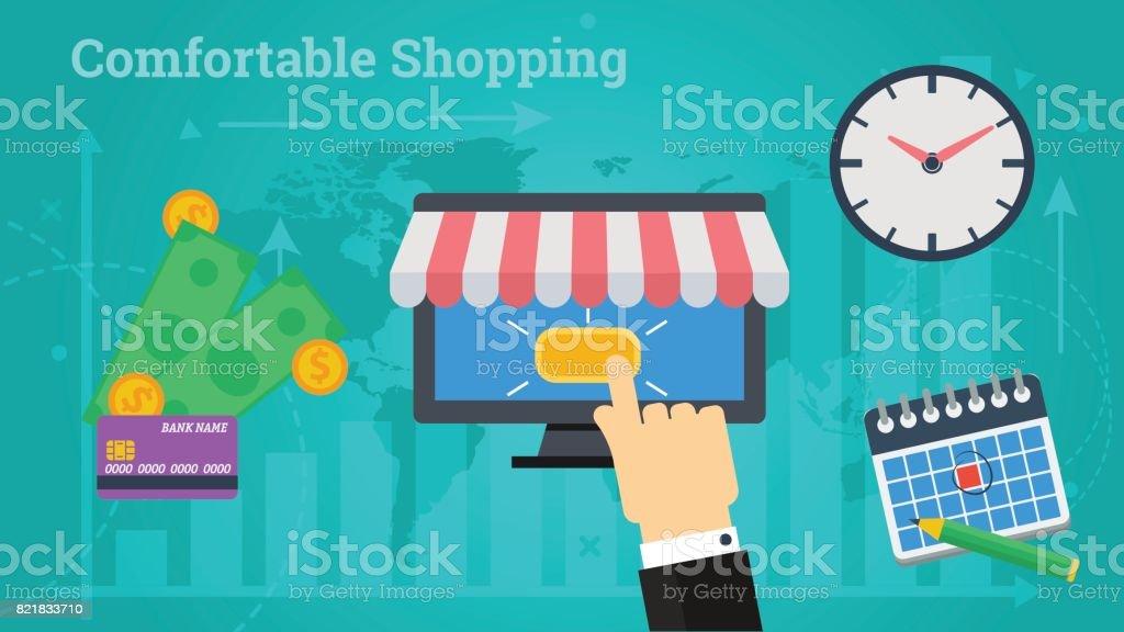 Business Banner - Comfortable Shopping vector art illustration