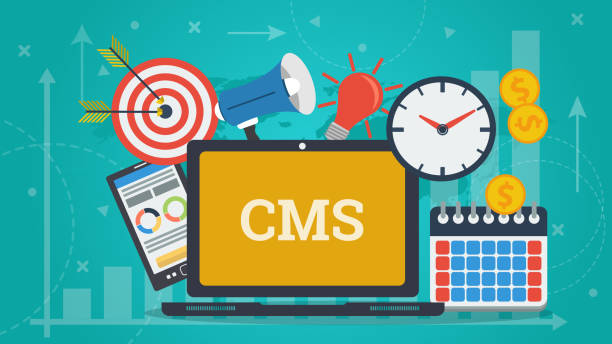 Business Banner - learning management system Vector horizontal banner of content management system - CMS. Laptop, smart phone, clock and money contented emotion stock illustrations