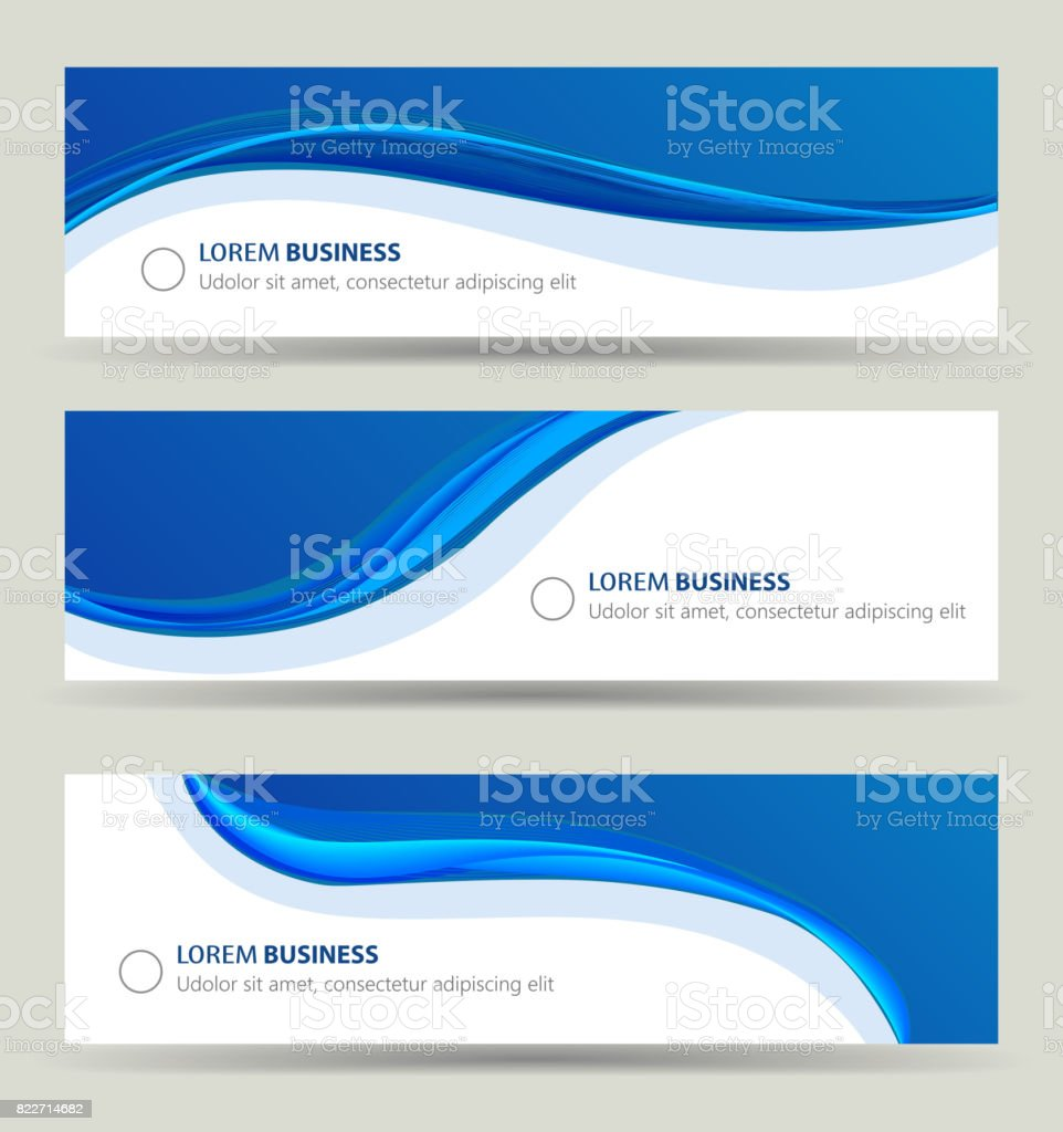Business banner wave set, card brochure cover template vector art illustration
