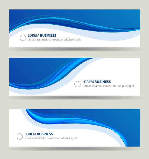 business banner wave set, card brochure cover template - blue drawings stock illustrations
