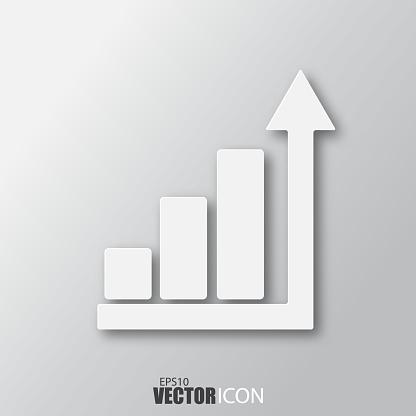 회색 배경에 고립 된 그림자와 함께 흰색 스타일에서 비즈니스 바 아이콘 0명에 대한 스톡 벡터 아트 및 기타 이미지