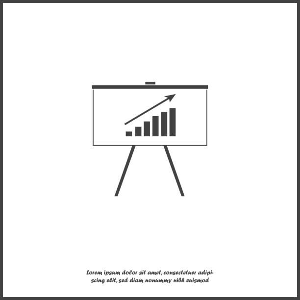 geschäft billboard vektor icon mit grafik. es isoliert geschäft tafel symbol auf weißem hintergrund. schichten zur einfachen bearbeitung abbildung zusammengefasst. für ihr design. - standlautsprecher stock-grafiken, -clipart, -cartoons und -symbole