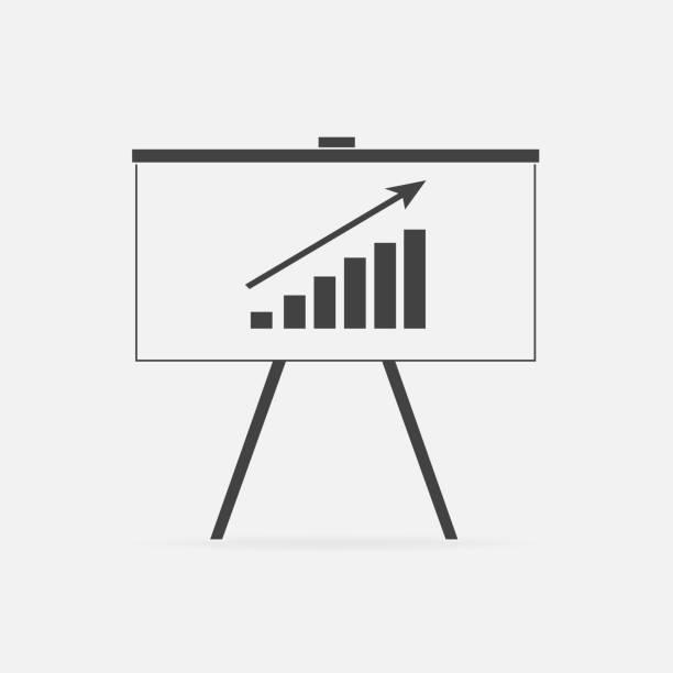 geschäft billboard vektor icon mit grafik. business-tafel. - standlautsprecher stock-grafiken, -clipart, -cartoons und -symbole