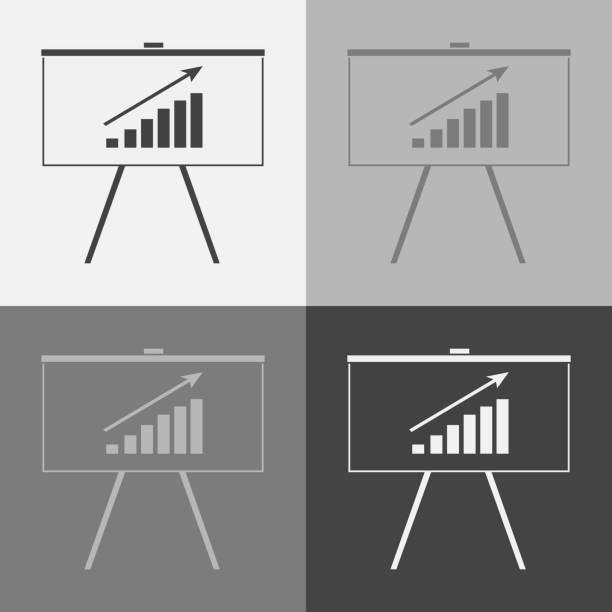 geschäft billboard vektor setzen symbol mit grafik. business-tafel. - standlautsprecher stock-grafiken, -clipart, -cartoons und -symbole