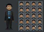 Business Black Man Cartoon Emotion faces Vector Illustration