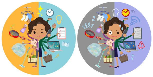 ilustrações de stock, clip art, desenhos animados e ícones de business black women_mulch task switch - fail cooking