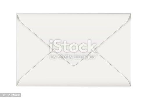 istock Business blank envelope in white, Vector illustration isolated on white background 1212039487