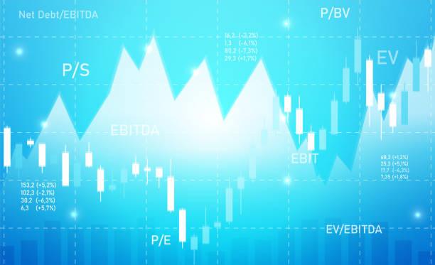 ilustraciones, imágenes clip art, dibujos animados e iconos de stock de fondo azul empresarial con gráficos y multiplicadores - corredor de bolsa
