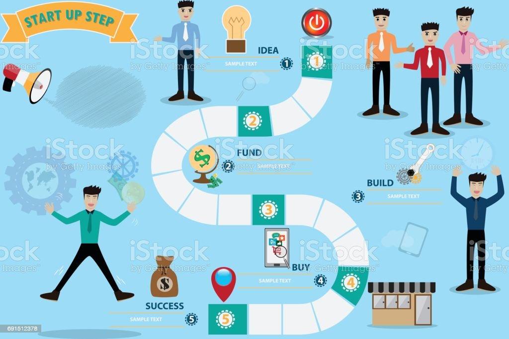 業務板遊戲概念圖走向成功-向量圖向量藝術插圖