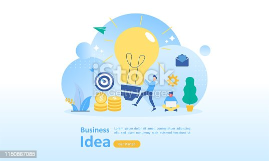 istock Business brainstorming, idea concept for teamwork with big yellow light bulb lamp, Suitable for web landing page, ui, mobile app, banner template. Vector Illustration 1150867085