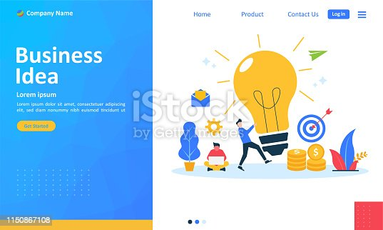 istock Business brainstorming, idea concept for teamwork with big yellow light bulb lamp, Suitable for web landing page, ui, mobile app, banner template. Vector Illustration 1150867108