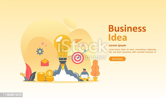 istock Business brainstorming, idea concept for teamwork with big yellow light bulb lamp, Suitable for web landing page, ui, mobile app, banner template. Vector Illustration 1156861629