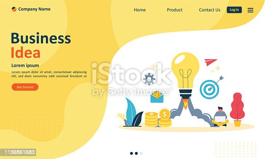istock Business brainstorming, idea concept for teamwork with big yellow light bulb lamp, Suitable for web landing page, ui, mobile app, banner template. Vector Illustration 1156861683