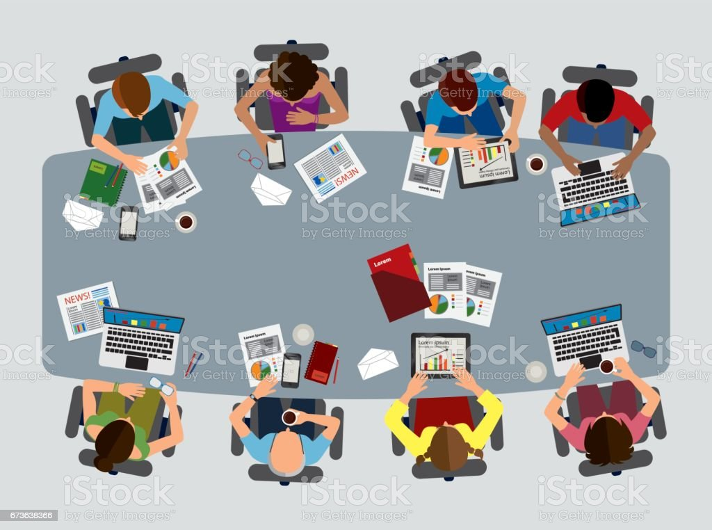 Business Brainstorming Reunion Top View vector art illustration