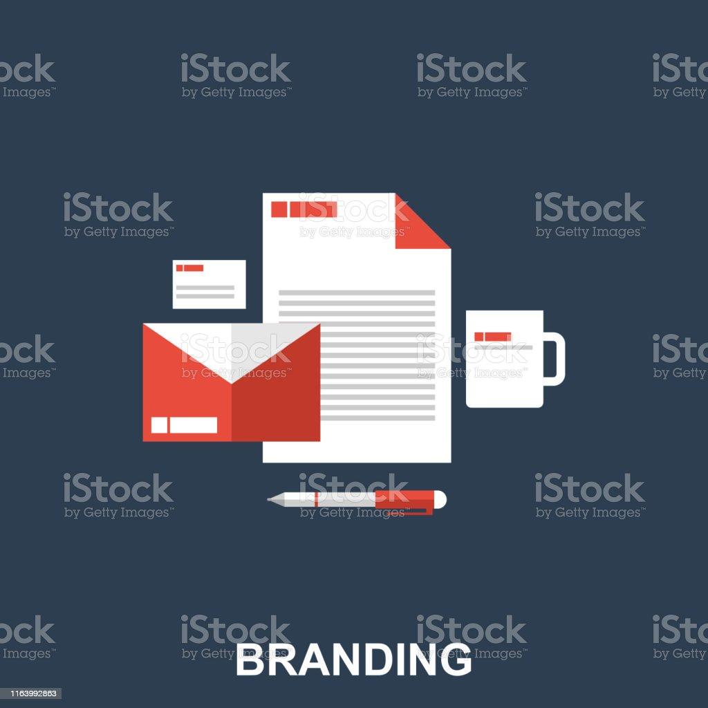 Business Branding Concept. Flat Line Art. Vector Illustration....