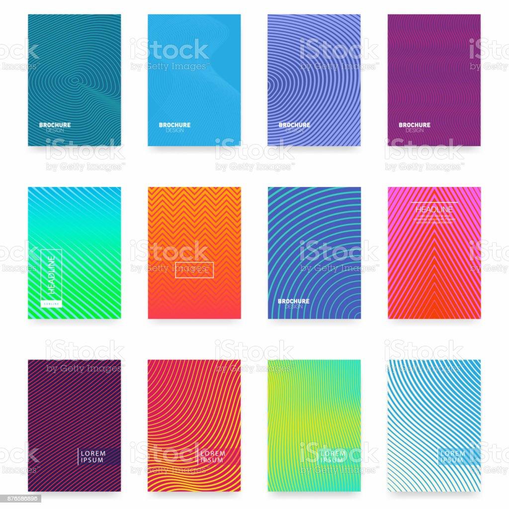 사업 안내 책자 표지 디자인입니다. 추상적인 기하학적 템플릿입니다. 최소한의 커버 디자인의 세트 벡터 아트 일러스트