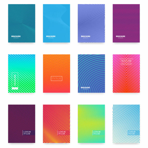 business brochure cover design. abstract geometric template. set of minimal covers design - poster stock illustrations