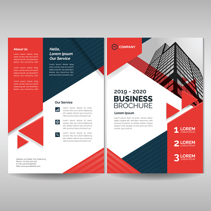 Business brochure cover layout template with red triangles