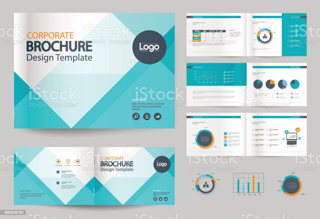 Business brochure design template and page layout for for Company brochure design templates