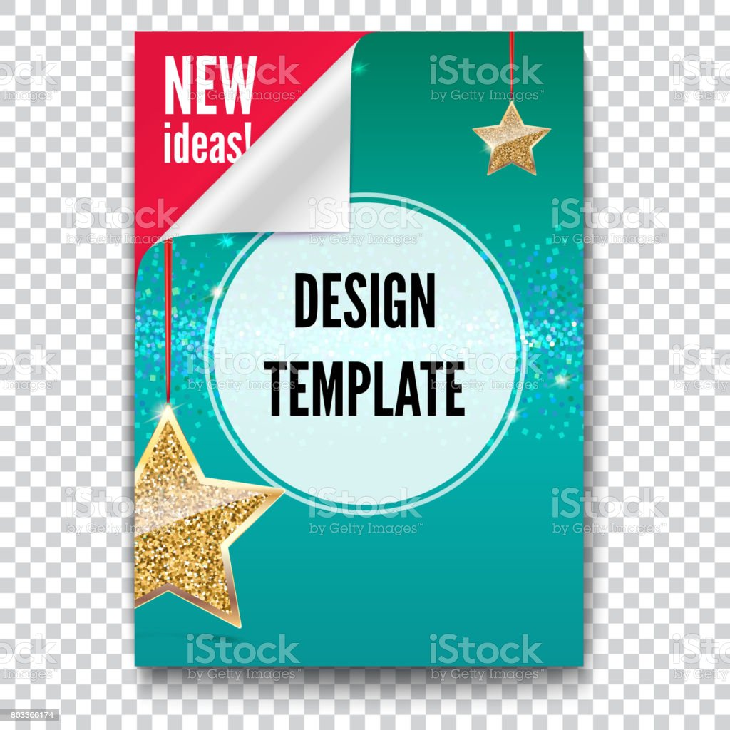 Business brochure, flyer design, layout template in A4 size. Paper poster with gold stars and glittering shine on backdrop, isolated on trasparent background, 3D illustration with text desig vector art illustration