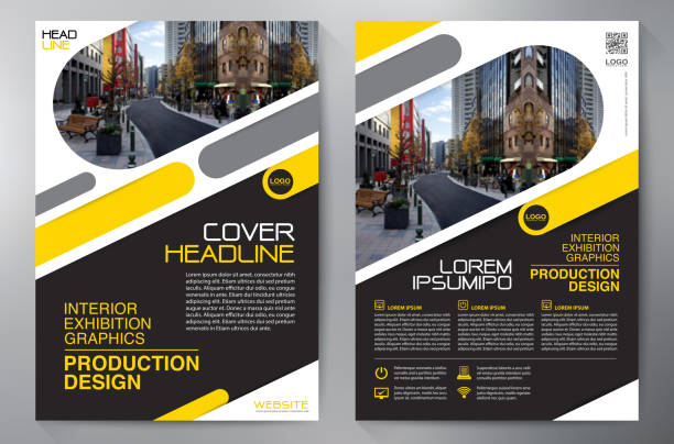 business brochure. flyer design. leaflets a4 template. cover book and magazine. annual report vector illustration - flyers templates stock illustrations