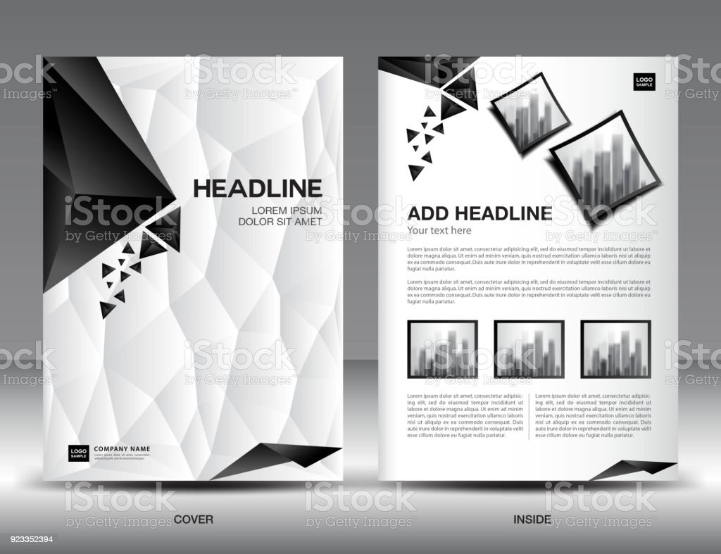 Black And White Flyer Template | Business Brochure Flyer Template Vector Illustration Black And White