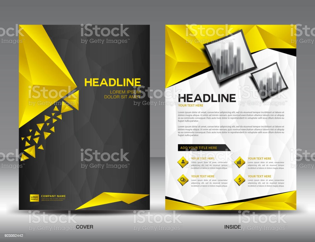 Business brochure flyer template vector illustration black and business brochure flyer template vector illustration black and yellow cover design annual report cover spiritdancerdesigns Images
