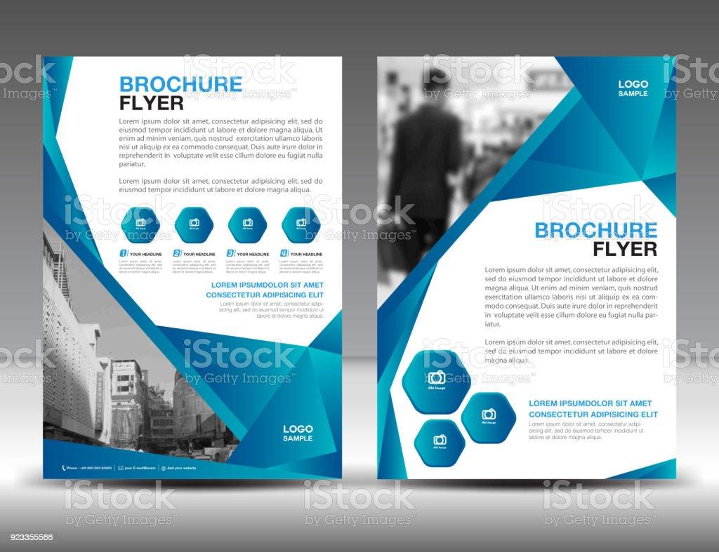 Businessbroschüreflyervorlagevektorillustration Blaue Coverdesign ...