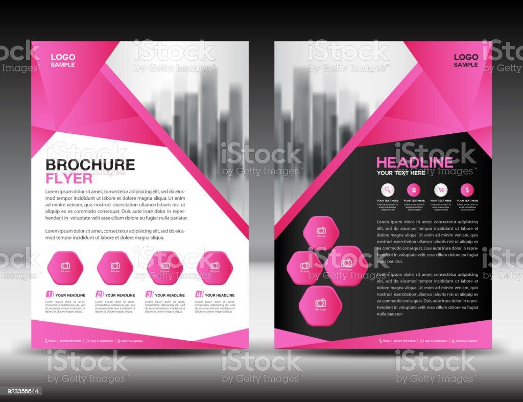 Businessbroschüreflyervorlagevektorillustration Pink Coverdesign ...