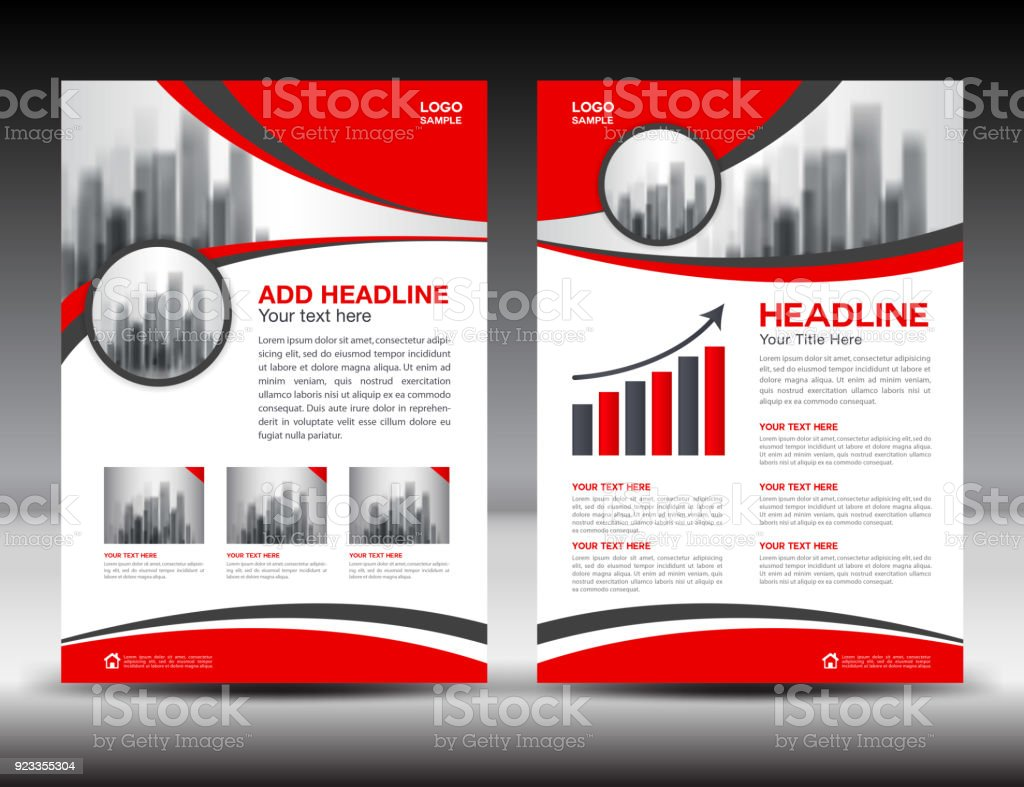 business brochure flyer template vector illustration red