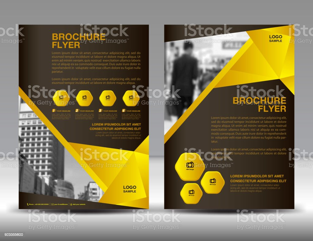 Businessbroschüreflyervorlagevektorillustration Gelben Coverdesign ...