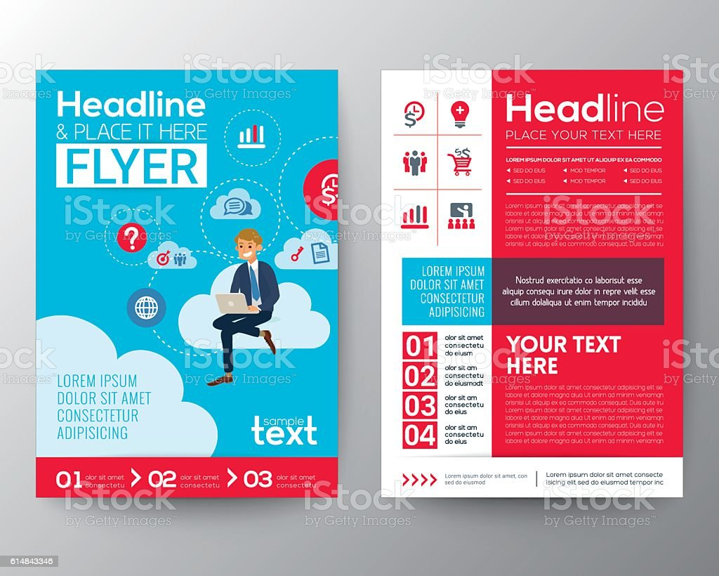 business brochure flyer template with businessman sitting on cloud