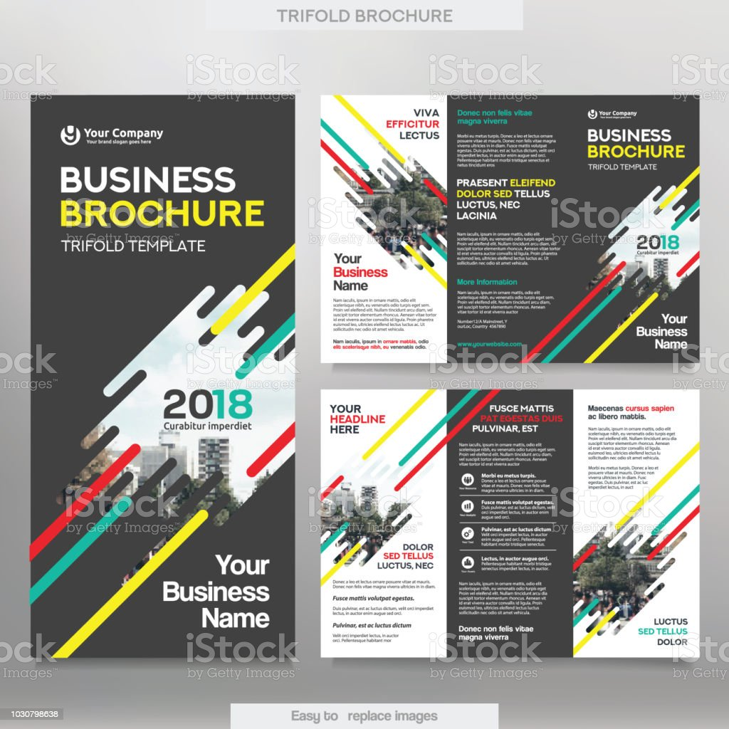 Business Brochure Template In Tri Fold Layout Stock Vector Art