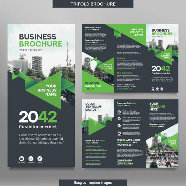 business-broschüre vorlage in tri fold layout. - folder stock-grafiken, -clipart, -cartoons und -symbole