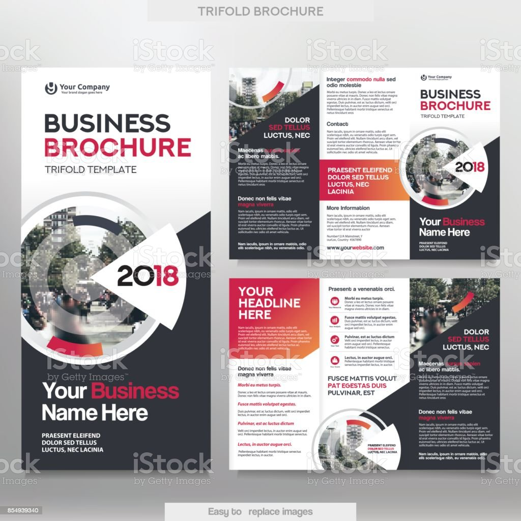 business brochure template in tri fold layout stock vector