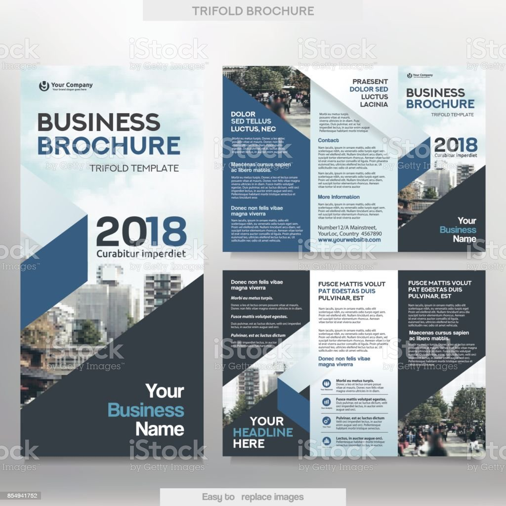 business brochure template in tri fold layout stock illustration - download image now