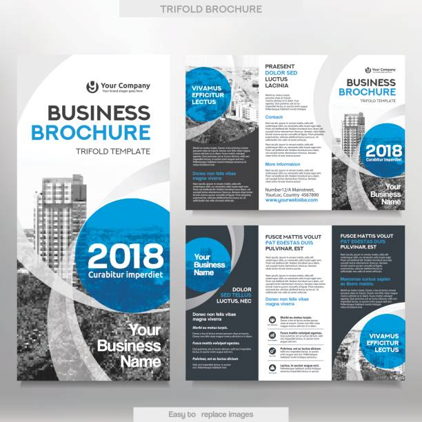 business brochure template in tri fold layout. - brochure templates stock illustrations, clip art, cartoons, & icons